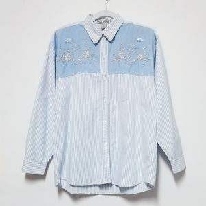 Vintage Jane Ashley Faux Pearl Beaded Shirt Medium